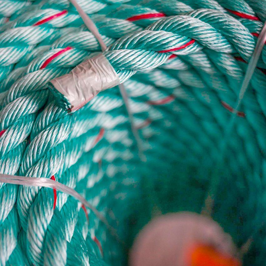 Green-Red-Flecks-Polysteel-Rope-coil-end