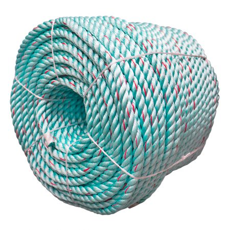 Green-Red-Flecks-Polysteel-Rope-coil-side