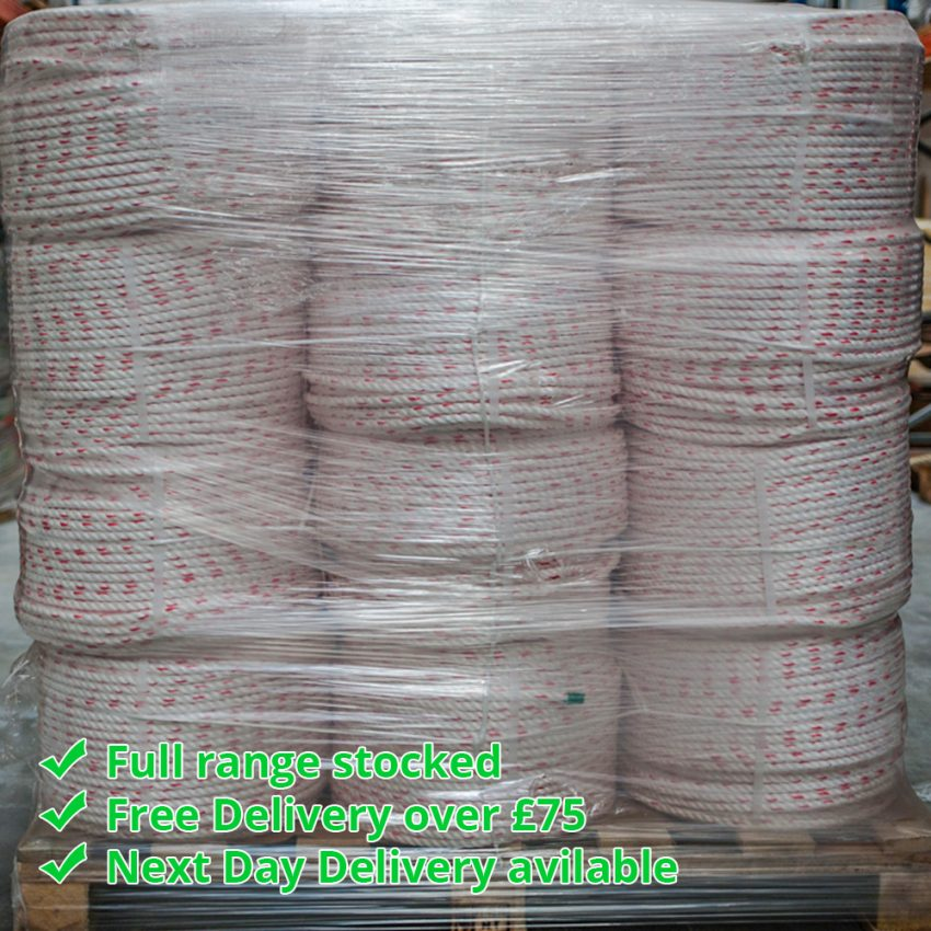 White-Red-Fleck-Floaty-Polysteel-Rope-coil-stack